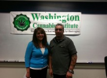 Washington Liquor Control Board marijuana program business manager Rebecca Smith (left) and Washington Cannabis Institute president and founder George Boyadjian (right)at WCI live seminar in Seattle May 18, 2013